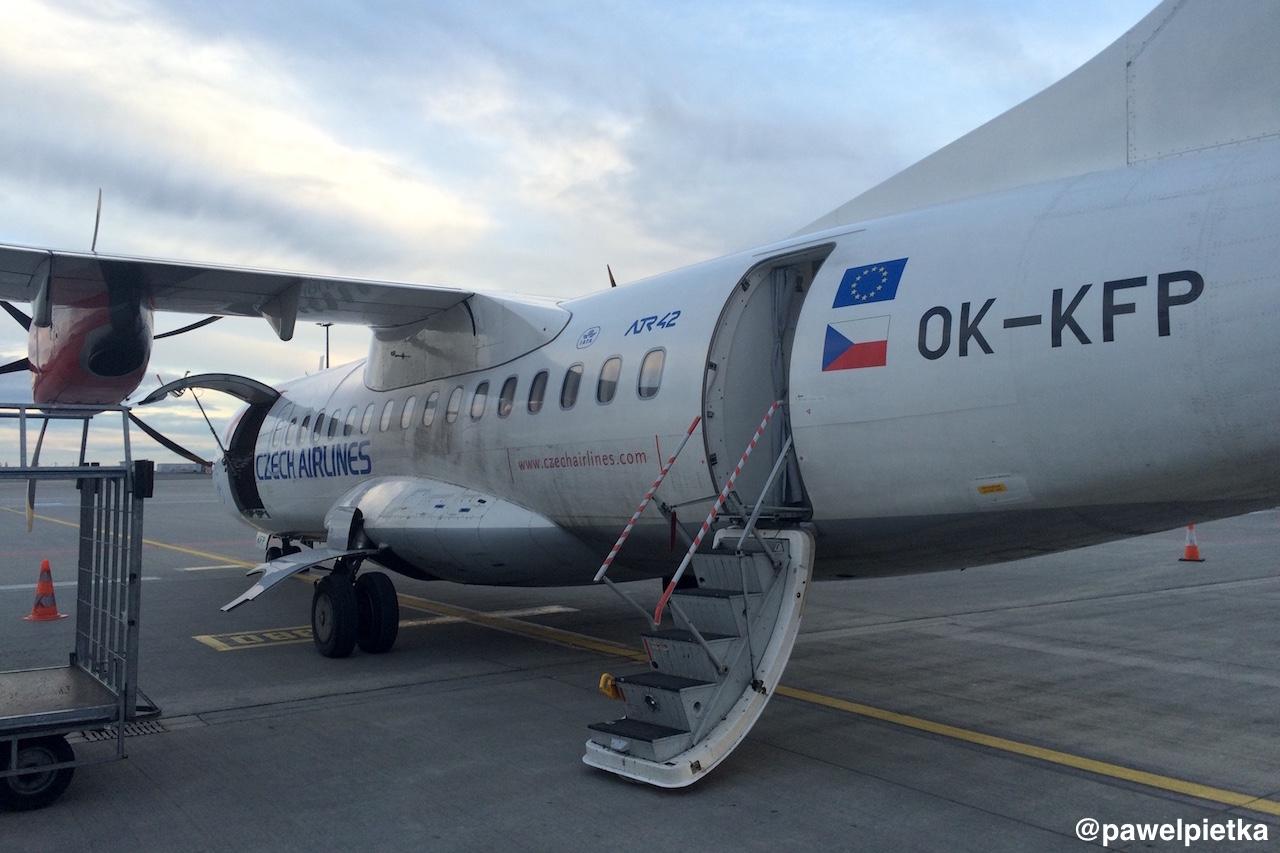 CSA Czech Airlines samolot ATR42-500 Praga Ostrawa lot OK-KFP
