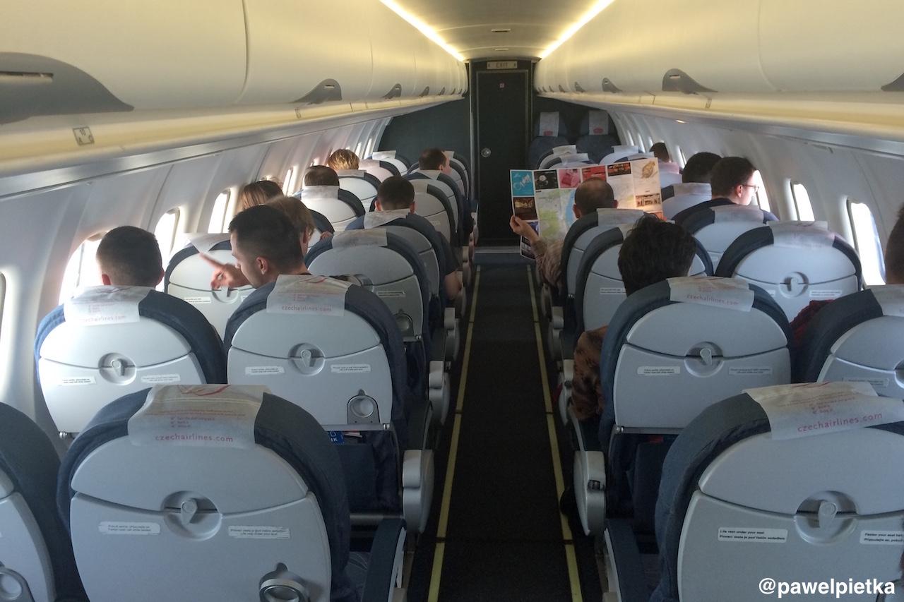 CSA Czech Airlines samolot ATR42-500 Praga Ostrawa lot wnetrze OK-KFP