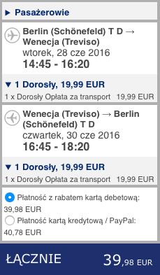 2016-06-07 Berlin Wenecja Treviso 176 zl RT easyjet