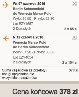 2016-06-07 Berlin Wenecja VCE 189 zl RT easyjet 2