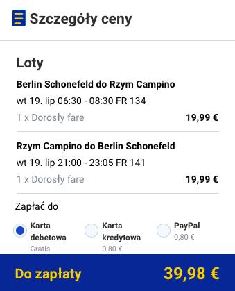 2016-07-08 Berlin Rzym wakacje Ryanair 176 zl RT 2